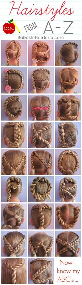 "Babes in Hairland Alphabet hairstyles.  So perfect when the kids have ""Letter of the Week""!"