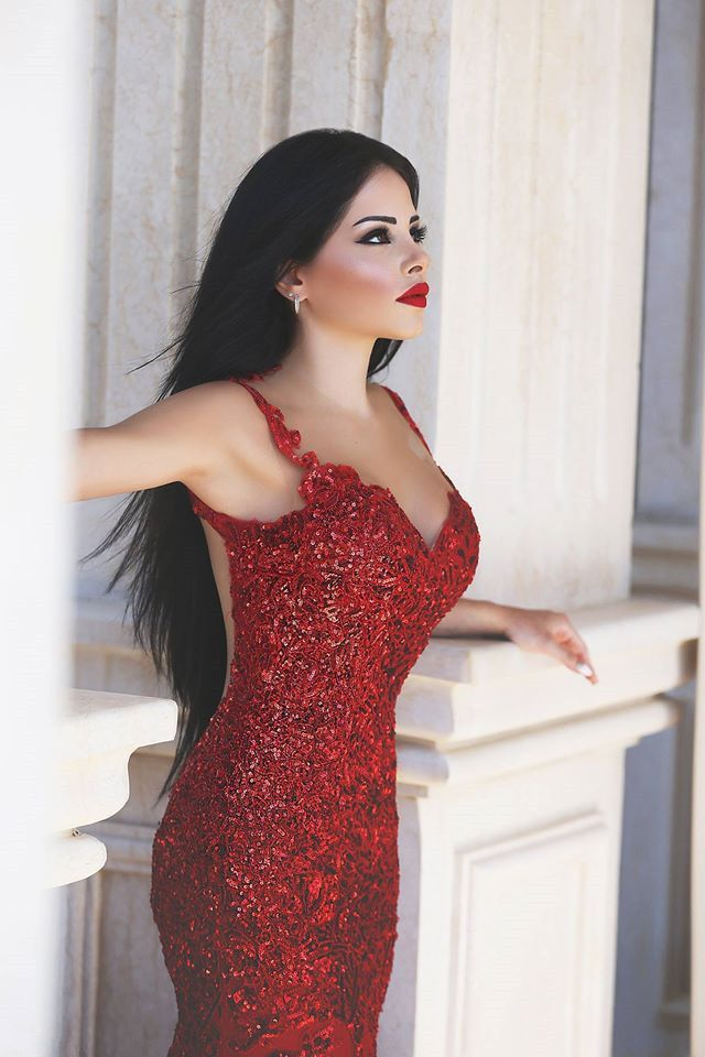 Glamorous Red Mermaid Sequins Prom Dress 2016 Appliques