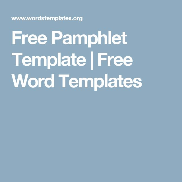 Free Pamphlet Template   Free Word Templates