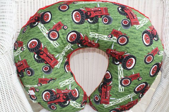Case IH Tractor and Red Minky Boppy Cover by DesignsbyChristyS, $25.00