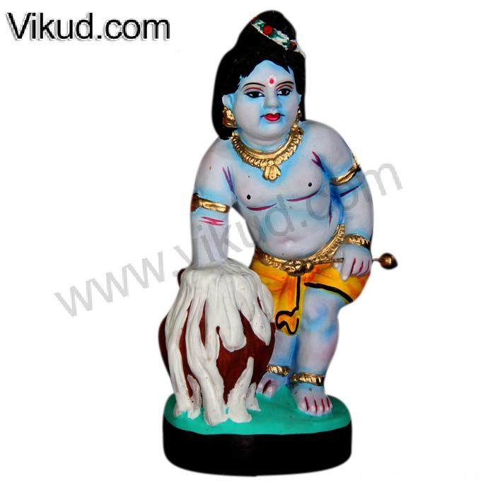 Terracotta-Butter Krishna Doll- (10 Inches)