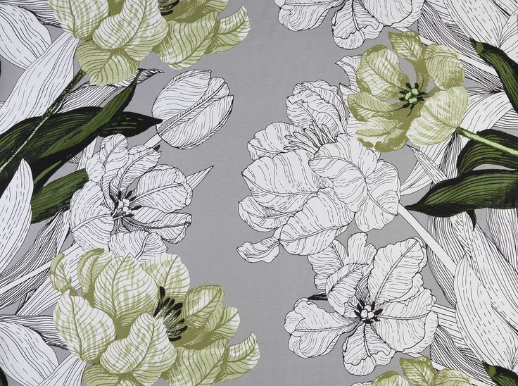 Jardin Green Fabric - Earthy green and white pattern of line drawing flowers and leaves on a solid grey background. Designed by Vallila Interiors of Helsinki and exclusive in NZ to Harvey Furnishings.