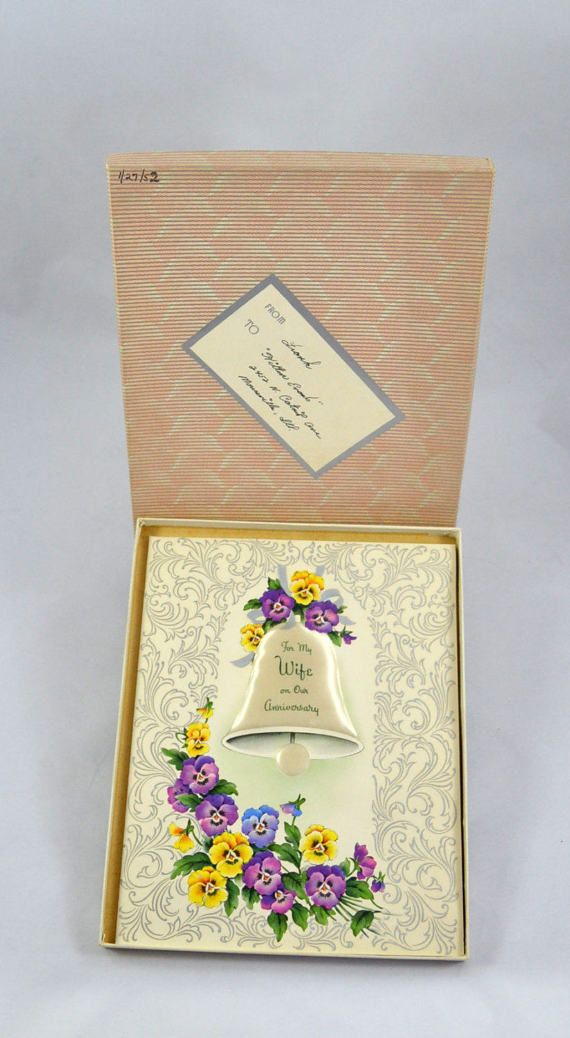 This offering is for a beautiful vintage satin padded greeting card. This gorgeous piece is so sweet, Frank calls his lovely wife Kitten the label on the outside is adorable! This card and its original box are in great vintage condition with some minor fading and signs of storage wear.  The card measures 9.5 by 7.25 inches with the box being slightly larger.  I am happy to combine ship and refund shipping overages of $1.00 or more.  Thank you for looking! To return to my shop, please click…