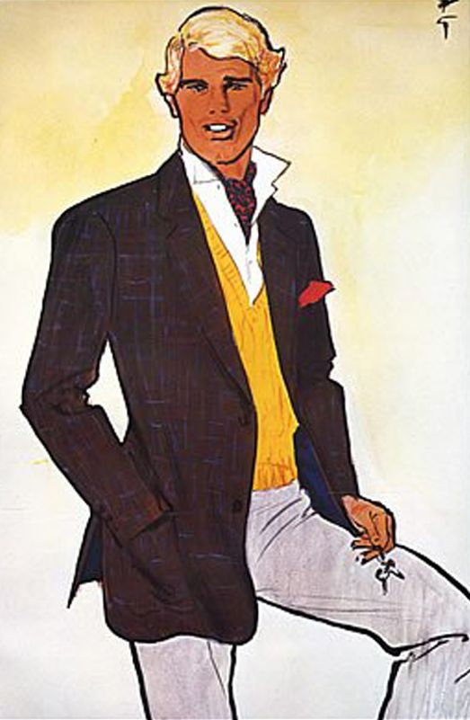 Illustration by René Gruau, ca. 1983, Dormeuil Frères.