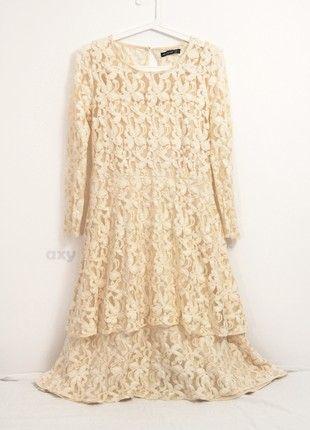 Kup mój przedmiot na #vintedpl http://www.vinted.pl/damska-odziez/sukienki-midi/20776990-kremowa-koronkowa-sukienka-midi-z-dlugim-rekawem