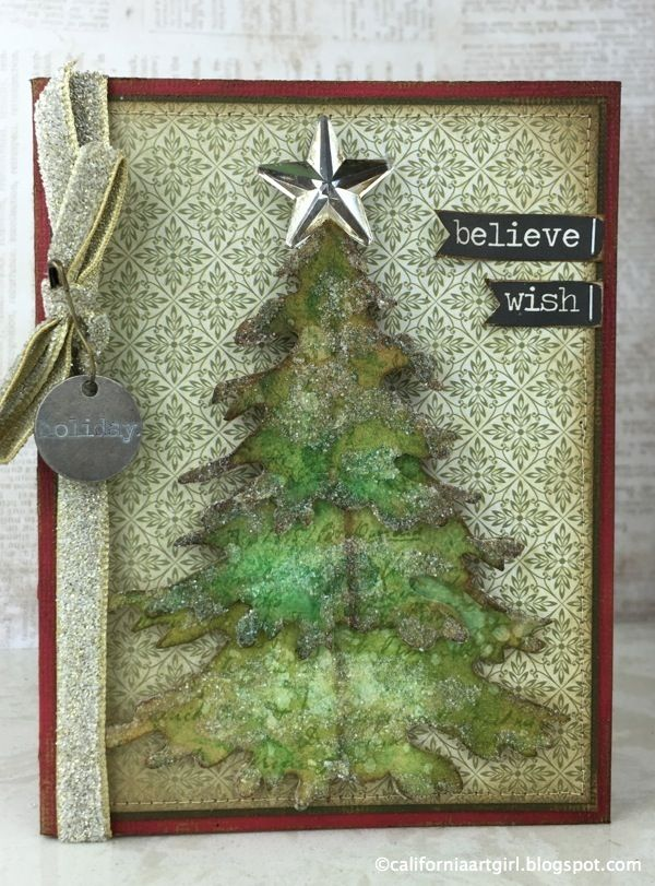 Layering Tim's Evergreen die. Richele Christensen: 12 Tags of 2015 / Holiday Card Series - October Inspiration