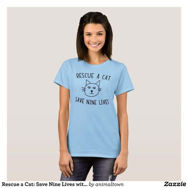 Rescue a Cat: Save Nine Lives with Cartoon Cat T-Shirt - Fashionable Women's Shirts By Creative Talented Graphic Designers - #shirts #tshirts #fashion #apparel #clothes #clothing #design #designer #fashiondesigner #style #trends #bargain #sale #shopping - Comfy casual and loose fitting long-sleeve heavyweight shirt is stylish and warm addition to anyone's wardrobe - This design is made from 6.0 oz pre-shrunk 100% cotton it wears well on anyone - The garment is double-needle stitched at the…