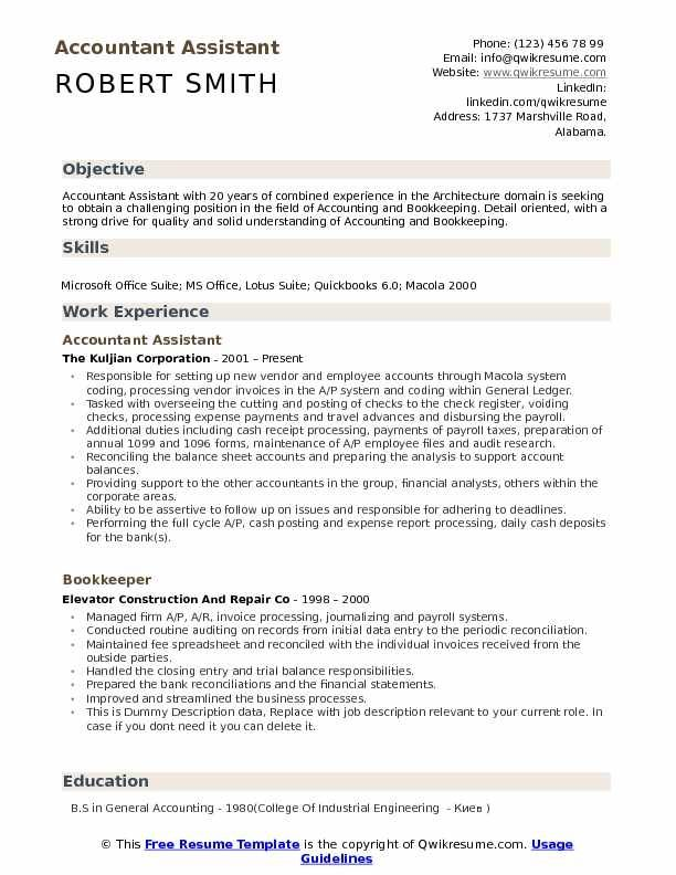 Accountant Assistant Resume Samples Qwikresume Job Resume Samples Resume Accountant Resume