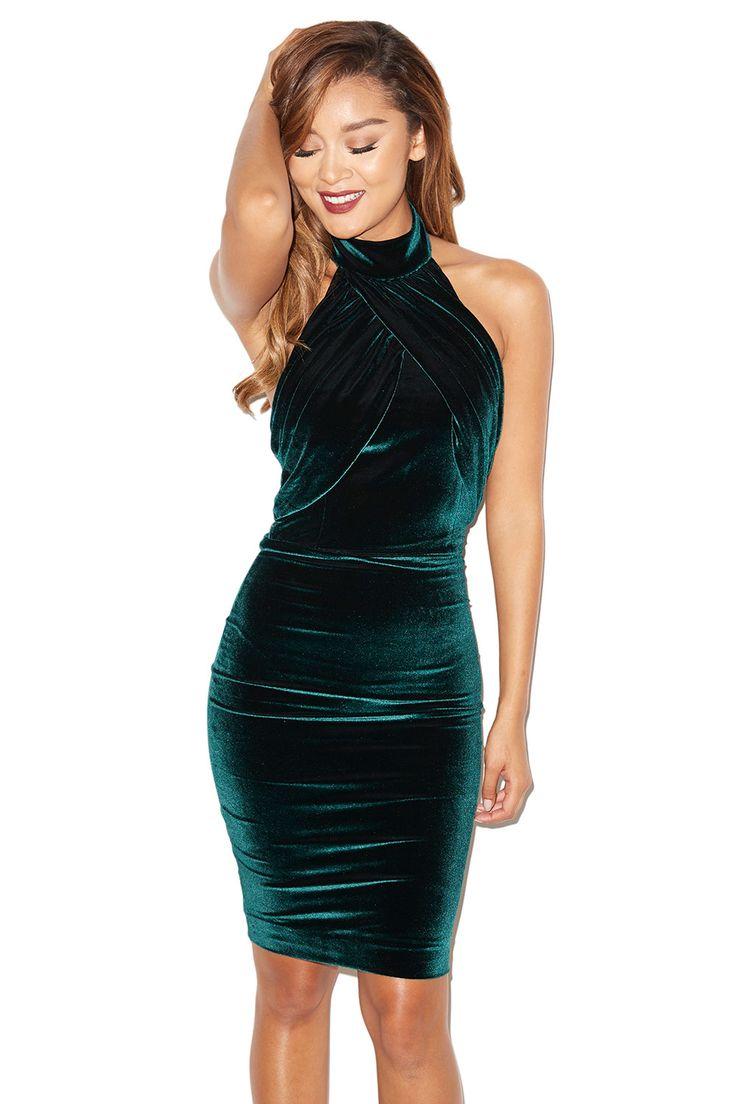 'Bellina' Dark Green Velvet Backless Dress - SALE