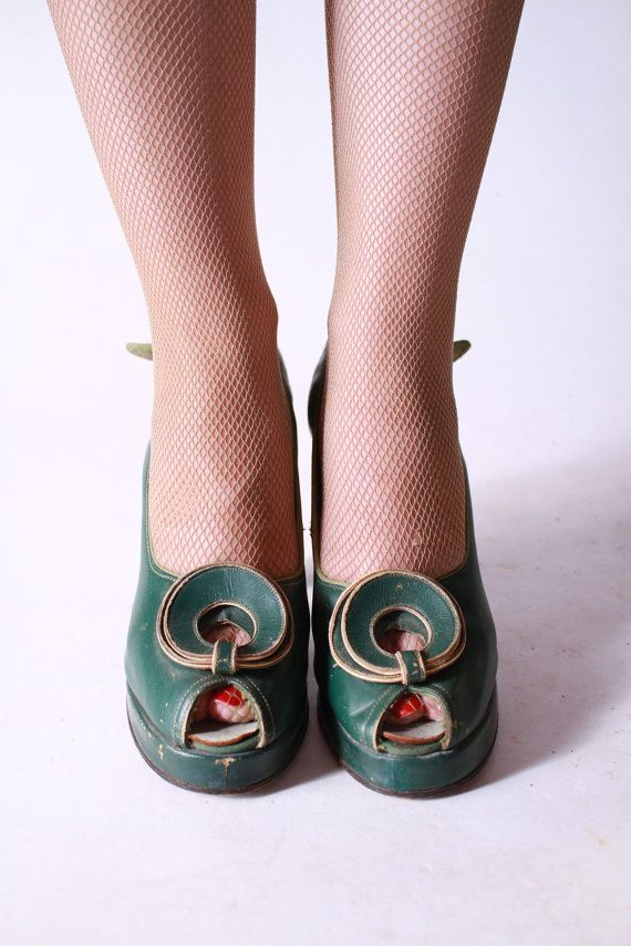 scarpe anni 40 Vintage Kelly Green Leather Platform di FabGabs