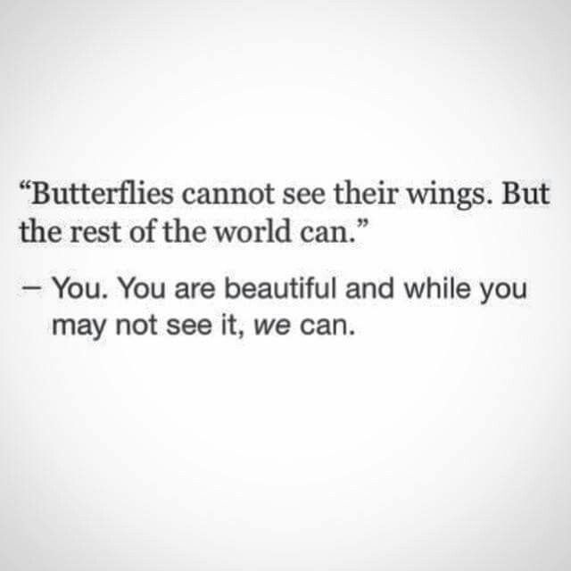 Butterflies cannot see their wings. But the rest of the world can.  You. You are beautiful and while you may not see it we can.