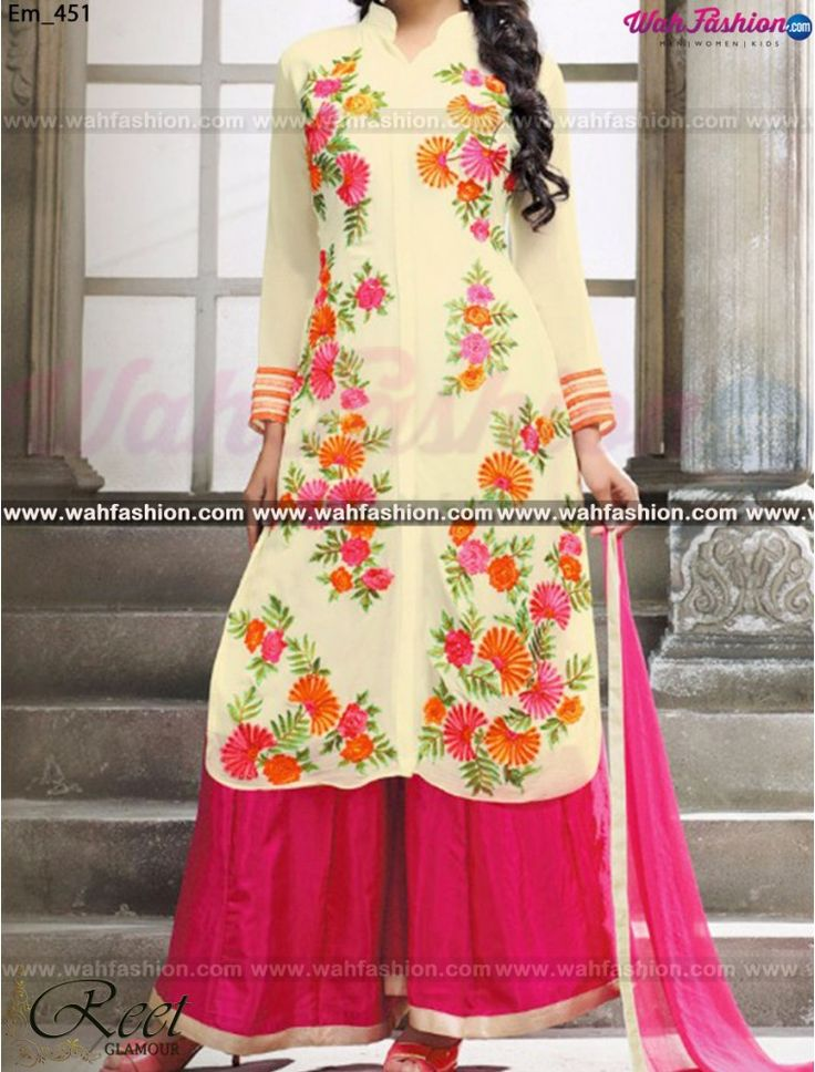 Mesmeric Cream And Pink Palazzo Suit