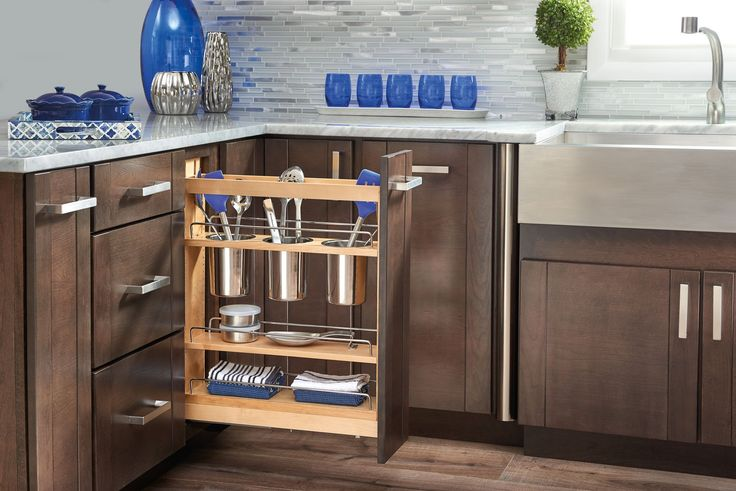 Rev-A-Shelf - 448UT-BCSC-5C - 5 in. Pull-Out Wood Base Cabinet Utensil Organizer with 3 Bins and Soft-Close Slides