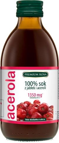 Acerola100% sok z jabłek i aceroli. W każdej buteleczce 1350 mg naturalnej witaminy C. Witamina C jest niezbędna dla prawidłowego działania systemu odpornościowego, naczyniowego. Niezastąpiona w zapobieganiu krwawienia dziąseł i nosa. Wspomaga profilaktykę antynowotworową. Syntetyczna witamina C jest w zasadzie nieprzyswajalna przez organizm człowieka, jedynie naturalna witamina C daje rezultaty prozdrowotne.