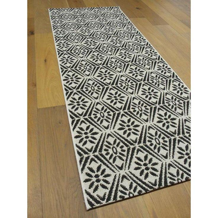 tapis idal pour la cuisine motifs vintage noir et blanc tiss plat - Cuisine Beige Et Noir