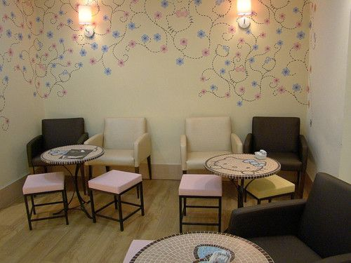 Sanrio Hello Kitty Coffee Cafe Too Cute Even The Wallpaper Is More Than Just Vines