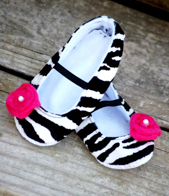 Zebra print mary jane shoes for little girls and babies