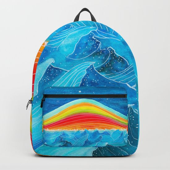 "$69.00 Rainbow Mountain by Viviana González © 2017 Our Backpacks are crafted with spun poly fabric for durability and high print quality. Thoughtful details include double zipper enclosures, padded nylon back and bottom, interior laptop pocket (fits up to 15""), adjustable shoulder straps and front pocket for accessories. Dry clean or spot clean only. One unisex size: 17.75""(H) x 12.25""(W) x 5.75""(D).  #backpacks #backpacking #backtoschool #ocean #water #design #society6"