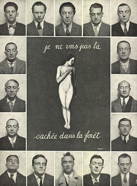 Je ne vois pas la [femme] cachée dans la forêt (I do not see the [woman] hidden in the forest), photomontage by René Magritte published in La Révolution surréaliste no. 12, 15 December 1929