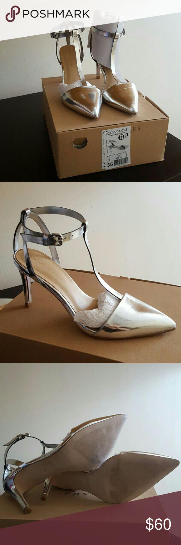 Zara Silver Metallic Strappy Heels Zara Silver Metallic Strappy Heels. Only worn once. Zara Shoes Heels