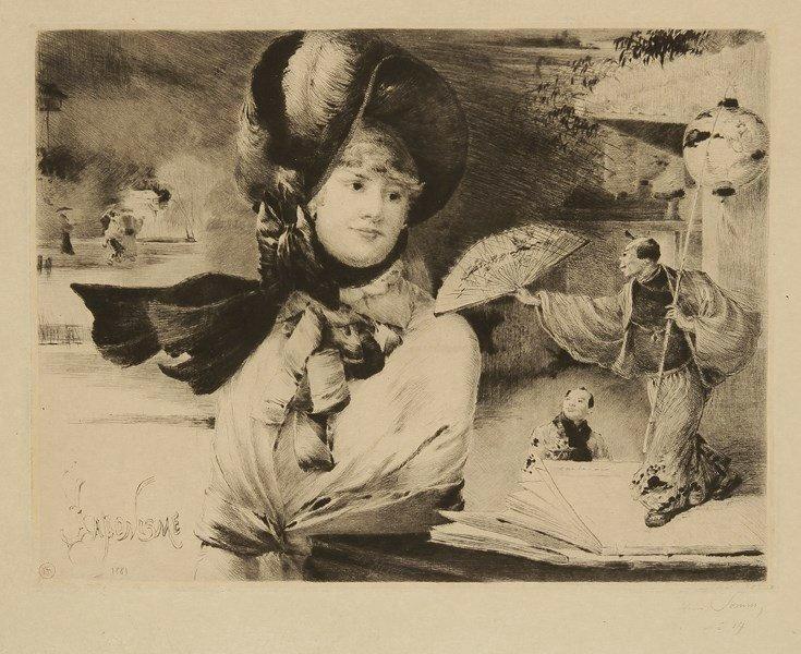 Henry Somm Japonisme. 1881. Pointe sèche. 317x240. Beraldi 35; Weisberg