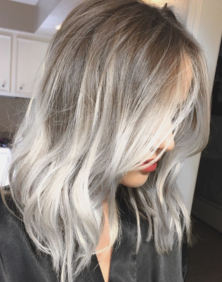 Silver ash balayage highlights