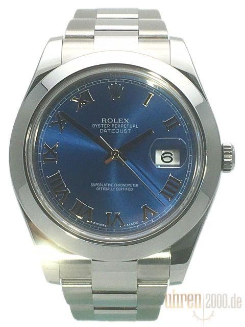 Rolex Datejust II 41 Edelstahl 116300 Blau Römisch gebraucht aus 2014