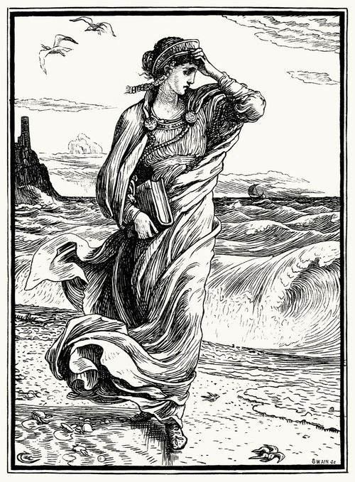 """Then the princess left the cave and wandered down to the sea-shore."" Walter Crane, from The necklace of Princess Fiorimonde and other stories, by Mary De Morgan, London, 1886"
