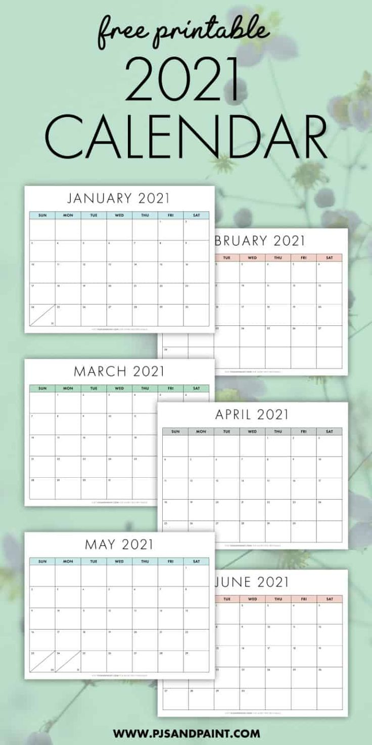 free printable 2021 calendar sunday start pjs and on home office paint colors 2021 id=89646