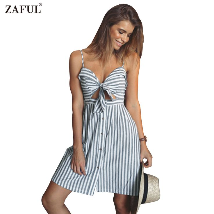 ZAFUL women summer dresses Cotton and linen Backless strapless spaghetti strap dress Blue striped casual Feminino vestidos-in Dresses from Women's Clothing & Accessories on Aliexpress.com | Alibaba Group