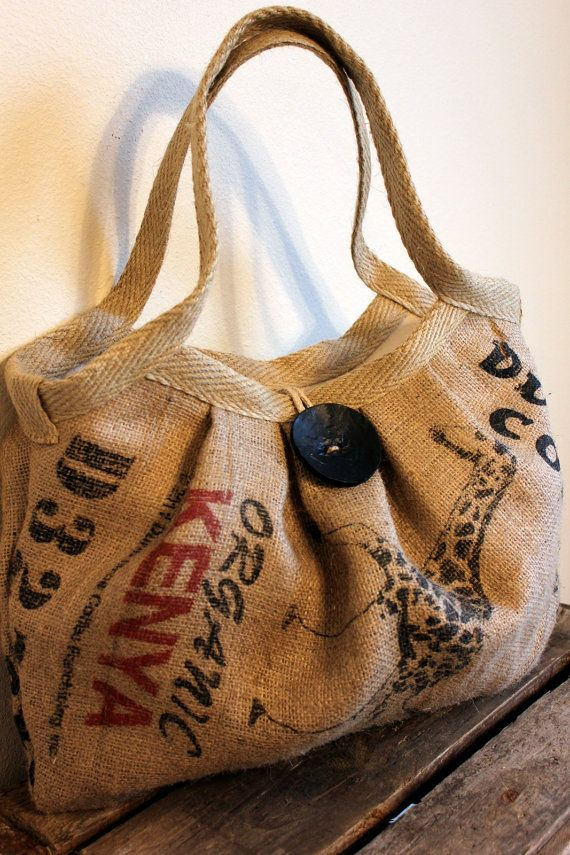 Burlap Coffee Sack Bag with Large Button and Hemp Webbing