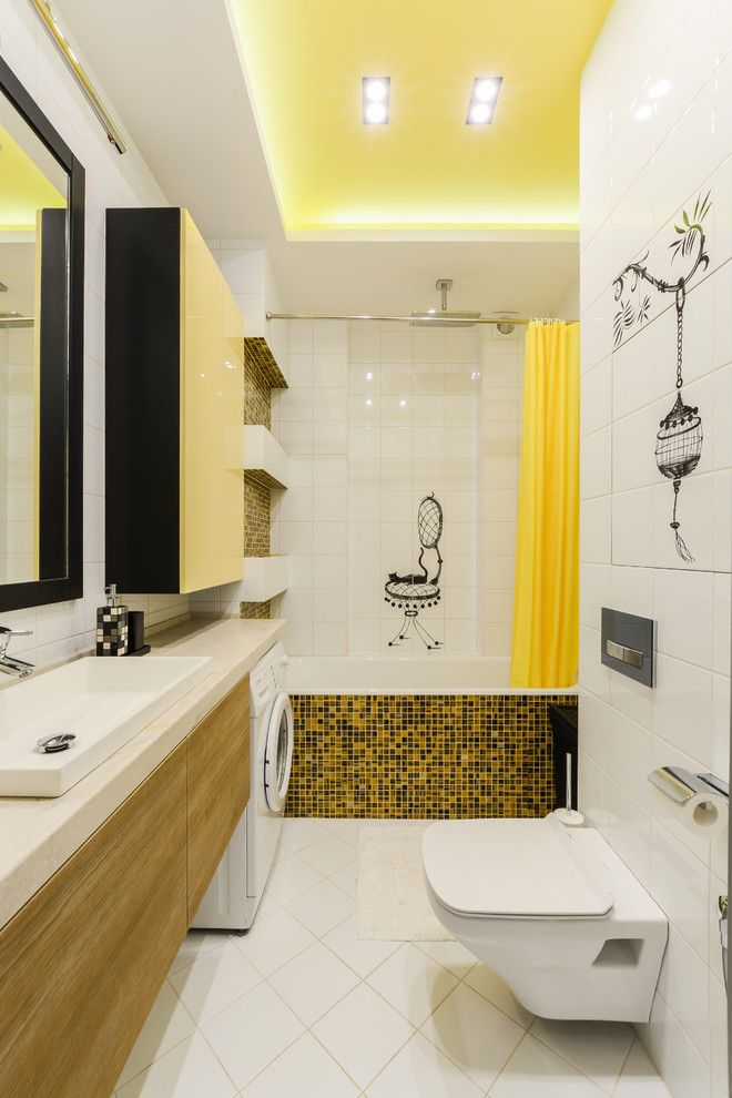 bathroom color combinations yellow ceiling cabinet curtain