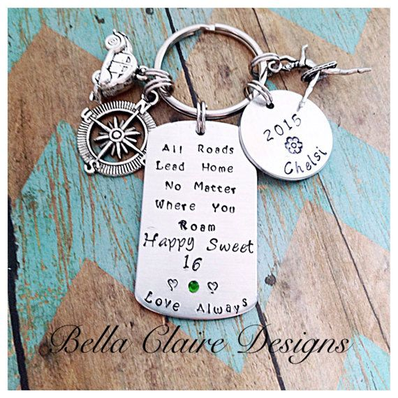New Driver Keychain Sweet 16 Keychain All Roads Lead Home
