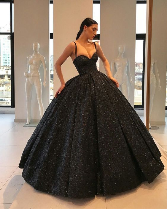 Ball Gown Sweetheart Open Back Black Sequins Long Prom Dresses,Formal Party Gown,Quinceanera Dresses