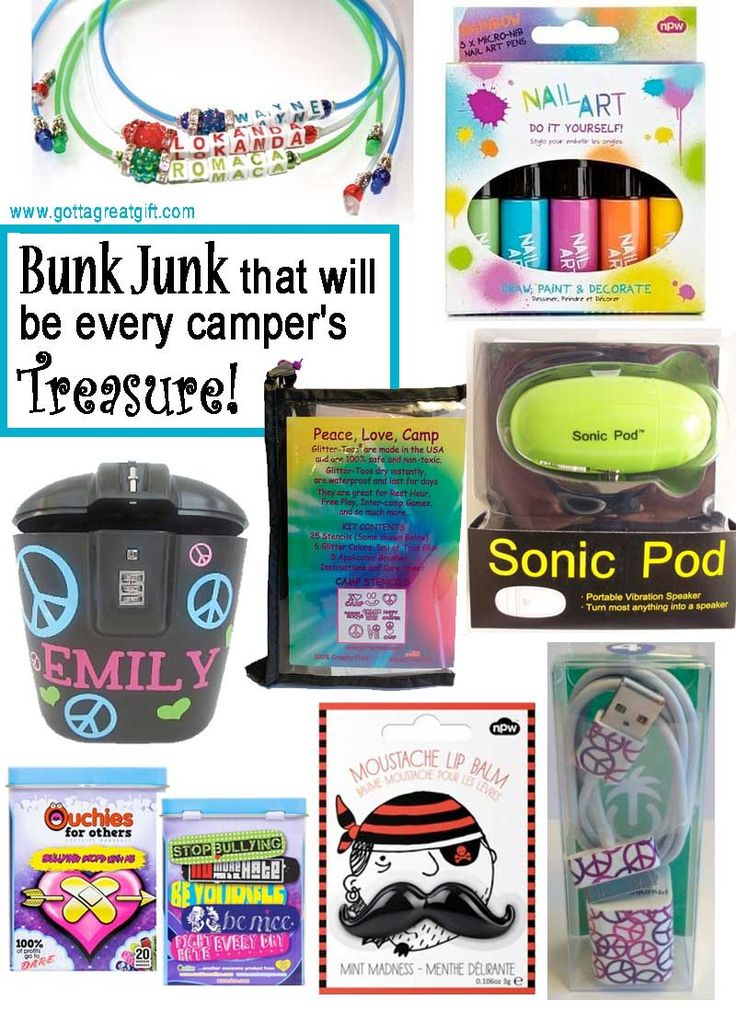 Wanna be the cool kid at camp? Find great camp bunk junk items to add to your sleepaway camp packing list, only from The Gift Chick at www.GottaGreatGift.com!