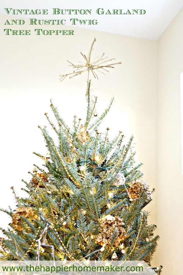Simplicity at it's best.... Vintage Button garland and Rustic Twig Tree Topper-The Happier Homemaker
