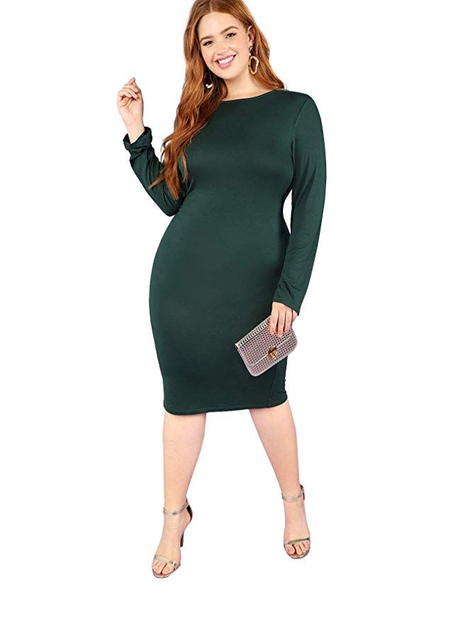 39e338071886 SheIn Women's Plus Size Solid Color Long Sleeve Stretchy Bodycon Dress  Green 3X-Large
