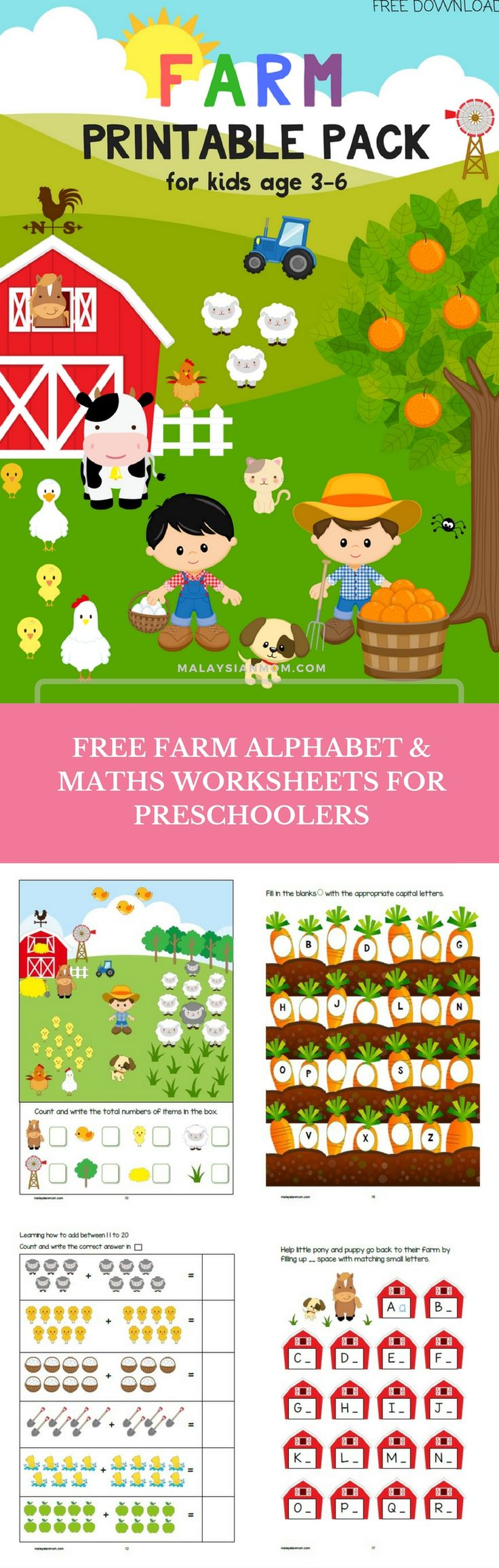 Farm theme printable pack | Free alphabet and maths worksheets for Pre-K, K1 & K2 | More free printables @malaysian_mom