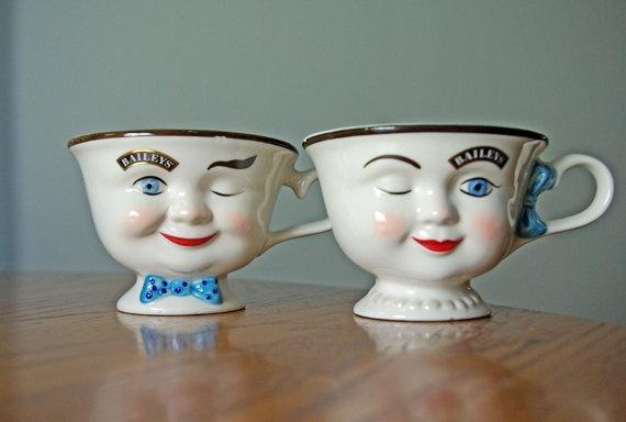 Anthropomorphic Bailey's Irish Cream Tea Cups Set by VintageRingo