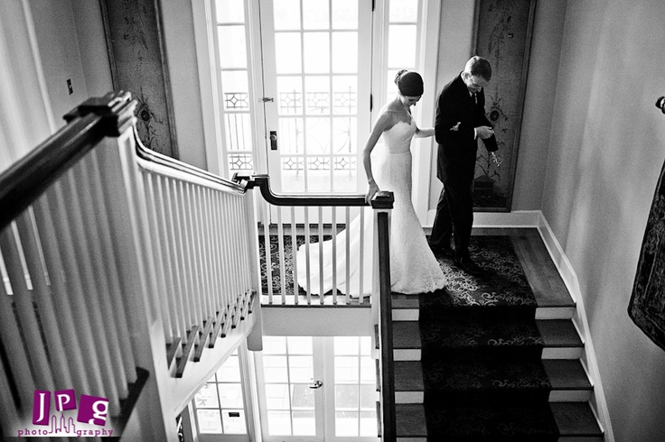 Bride & Father of the Bride on the Grand Staircase.