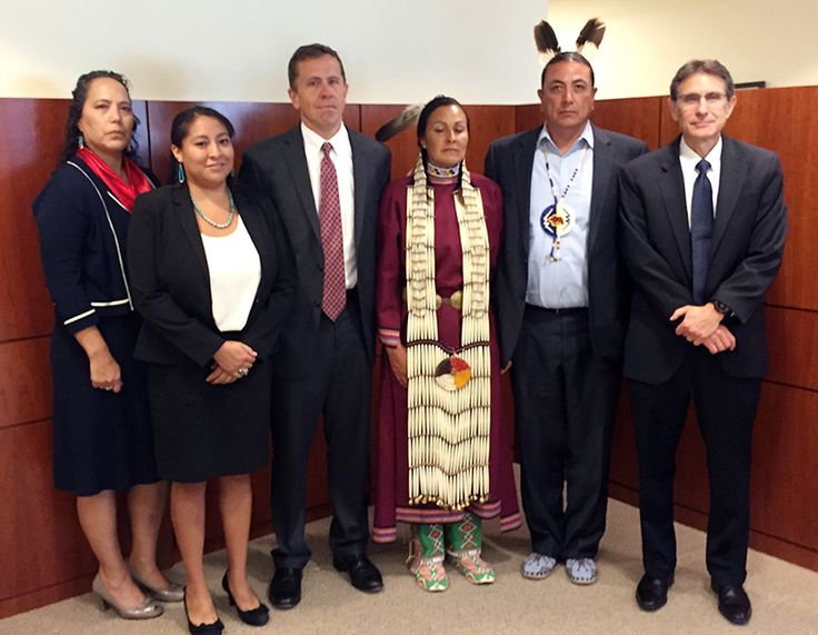 Standing Rock Sioux Tribe members with Earthjustice attorneys at the U.S. District Court for the District of Columbia, on August 24, 2016, the day of a hearing on a temporary restraining order requesting to halt construction of the pipeline.