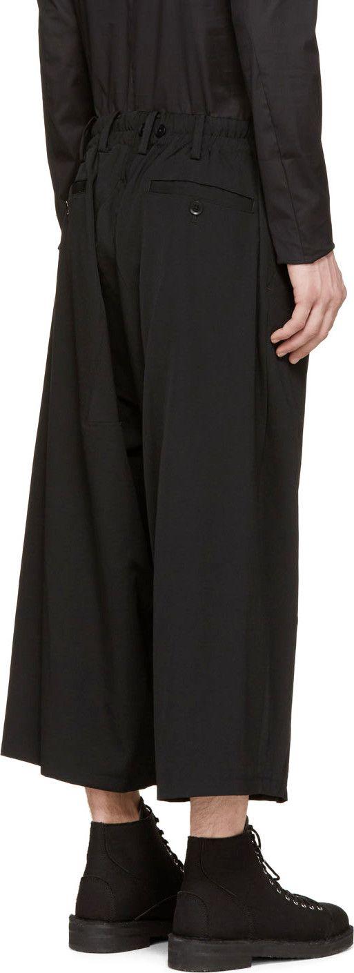 Yohji Yamamoto Black Cropped Wide-Leg Trousers