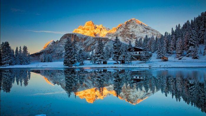 Reflection Mountains Snow Wallpaper 4k Microsoft Wallpaper Wallpaper Windows 10 Windows Desktop Wallpaper