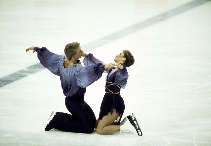 Jayne Torvill and Christopher Dean of Great Britain on their way to winning gold medals in the Ice Dancing event during the Sarajevo Winter Olympic Games 1984