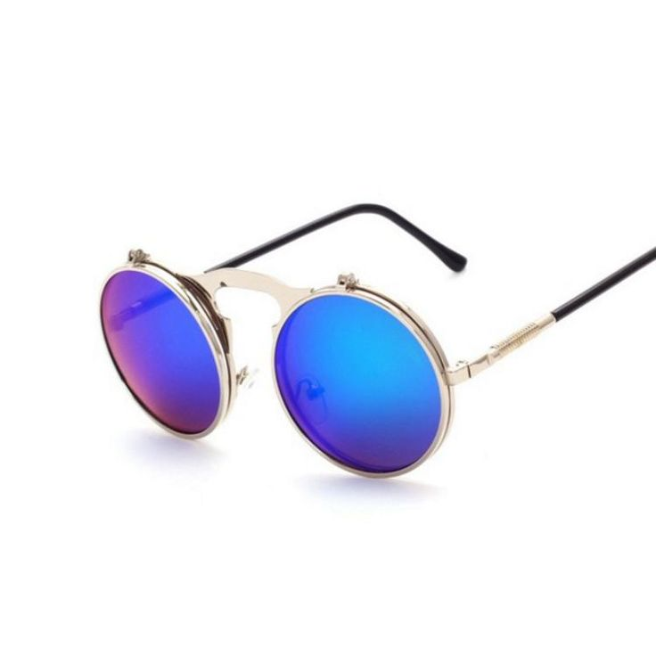 Steampunk Round Flip Sunglasses