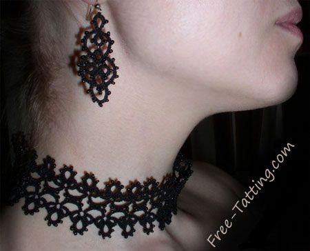 tatting necklace and earring: 1 - R: 4, p, 3, p, 3; 2 - R: 3, p, 2, p, 2, p, 2, p,  2,  p, 3; 3 - R: 3, p, 3, p, 4; 4 - Ch: 3, p 2, p, 2, p, 2, p, 3