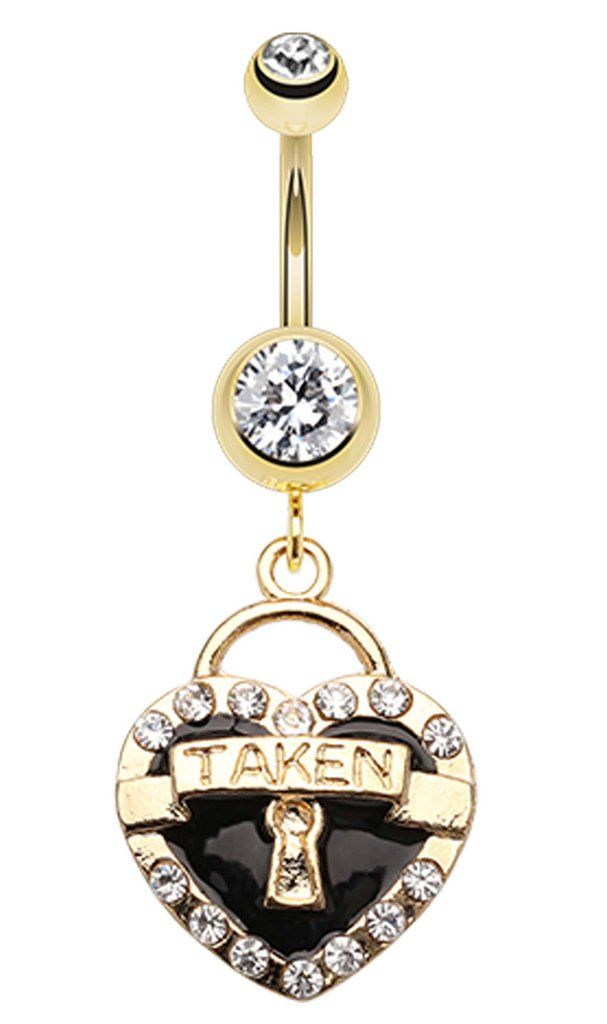 Golden Colored Heart Lock Sparkle Belly Button Ring - 14 GA (1.6mm) - Clear/Black - Sold Individually