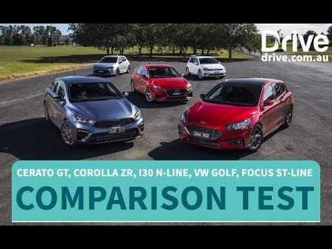 Comparison Test Kia Cerato Gt Vs Toyota Corolla Vs I30 N Line Vs Vw Golf Vs Focus St Line Youtube In 2020 Best Small Cars Toyota Corolla Ford Focus St