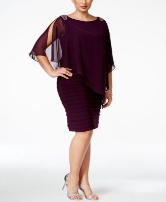 Xscape Plus Size Embellished Chiffon Overlay Dress | macys.com