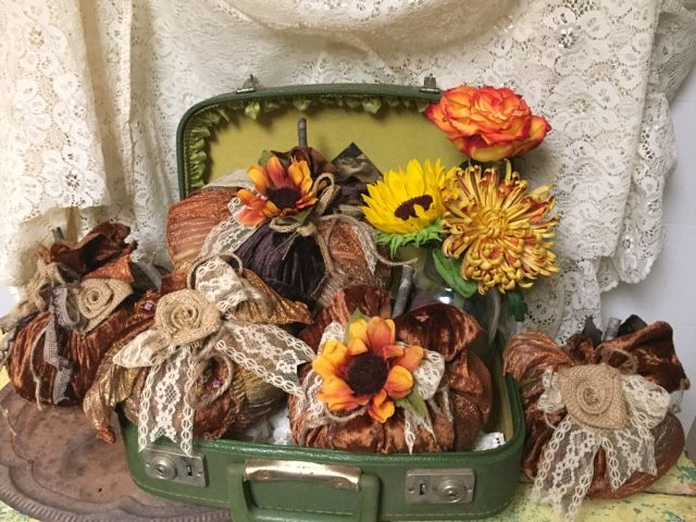fabric pumpkins with burlap roses and vintage lace | Fall ...